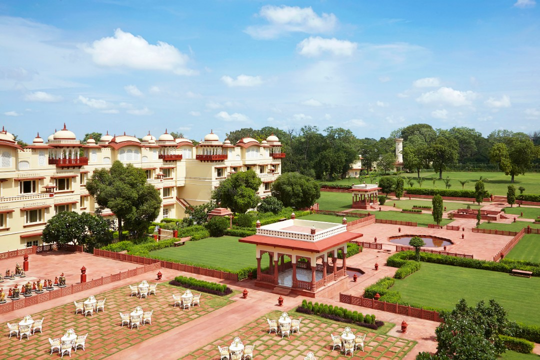 Taj Jai Mahal Palace Jaipur India Fountain Lawns 1